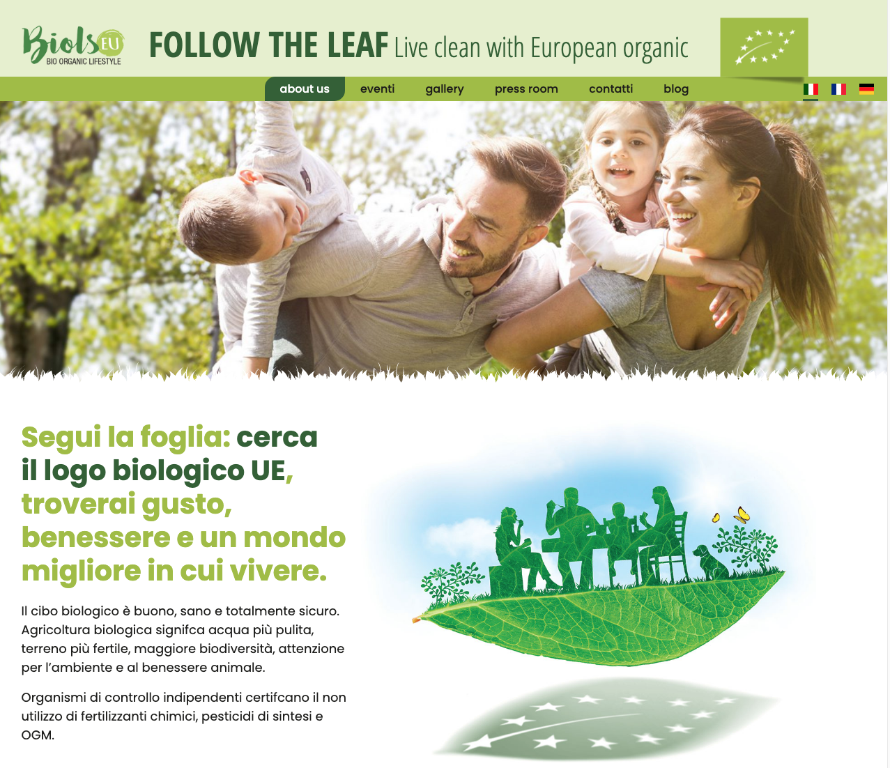 Una schermata del sito di informazione e promozione del biologico biols.eu