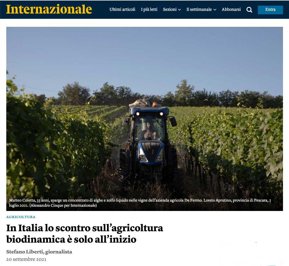 screenshot del titolo dell'articolo sull'agricoltura biodinamica pubblicato internazionale